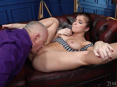 Sweetie spreads wide as follows senior man's pumped dong