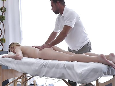 Sensual rub-down coupled with fingering gets Charlotte Sins in the mood less shag