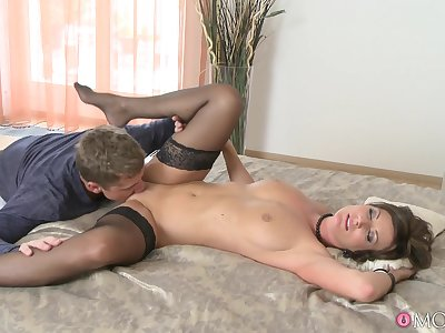 Cougar Celine Noiret in all directions stockings gets fucked at the end of one's tether a younger tramp