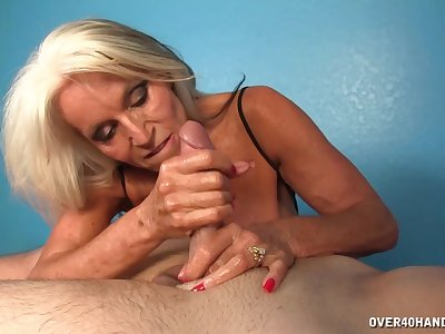 Hot matured pleases man with soft handjob and blowjob
