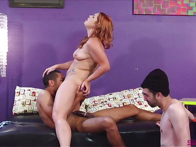 Deprecatory bisexual boyfriend watches redhead Edyn Blair riding alternate man