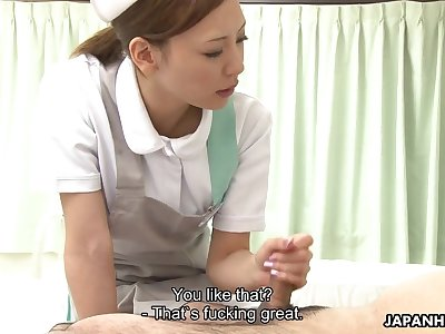 Cute anticipating Japanese nurse is really busy with sucking delicious cock