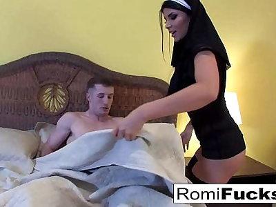 Nurse Romi Rain answers Brick's prayers encircling anal sex!