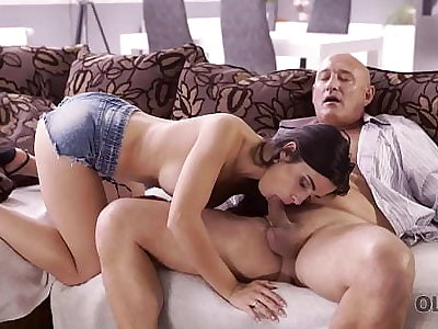 OLD4K. Naughty brunette tempts padre into drilling will not hear of butthole