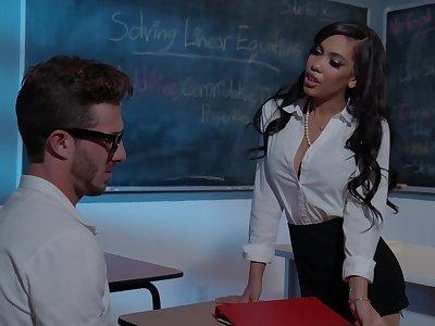 Wild fucking in the classroom almost horny MILF tutor Gia Milana