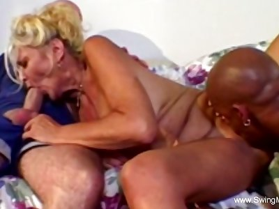 Interracial Threesome For Ennuy� Fair-haired Swinger Wife