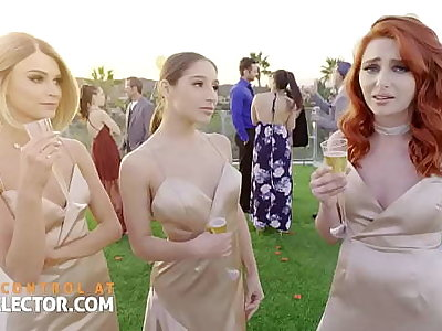 Duo bridesmaids give scruffy tight pussies and one cock