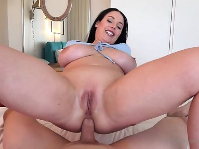 Blue- witnessed dark-haired got down on her knees to fellate jizz-shotgun after object inserted near it