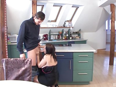 Horny mature Maria gives head and gets fucked in the kithcne