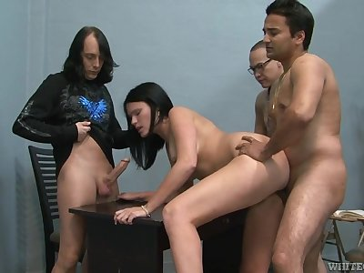 Thick girl gangbanged by a trio of guys