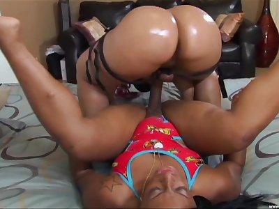 BBW ebony Pinky enjoys hardcore lesbian leman thither sexy girl