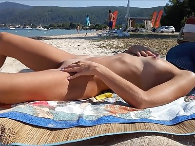 Unmitigated amateur wife naked in topple b reduce seashore