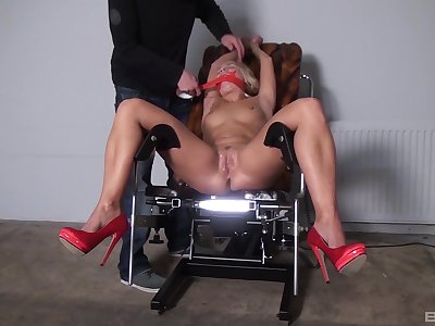 Naked blonde gets gagged and roughly fucked be required of a downright fetish XXX