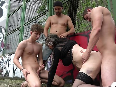 Mature gets humped by three young lads and made to swallow