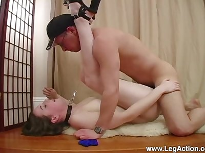 Dutiful Emily H. led around on a leash before a hard fuck with Master