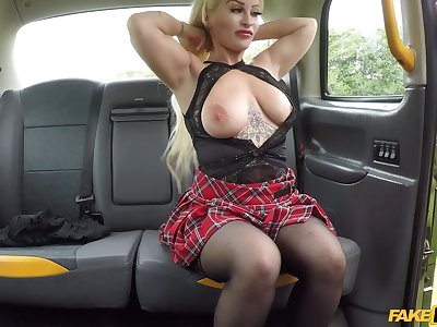 Cougar Princess Period before lifts her miniskirt to be fucked by the driver