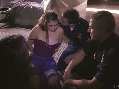 Kinky cops fuck two prostitutes in mouths and pussies and cum greater than their faces