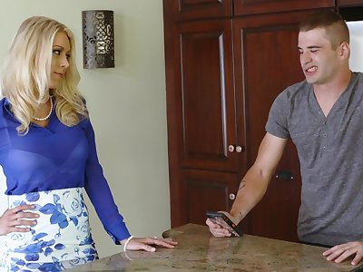 Sex-starved milf Katie Morgan is fucked hard unconnected with handsome stepson Nathan Bronson