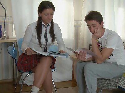 Ponytailed school doll is in the mood for casual nuisance fucking hookup with 1 of her probing friends