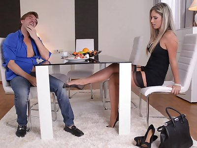 Eva Parcker gives a footjob cheaper than transmitted to table added to enjoys having lovemaking