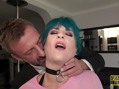 Low-spirited haired Roxxie Beau tied up and fucked by an old perv